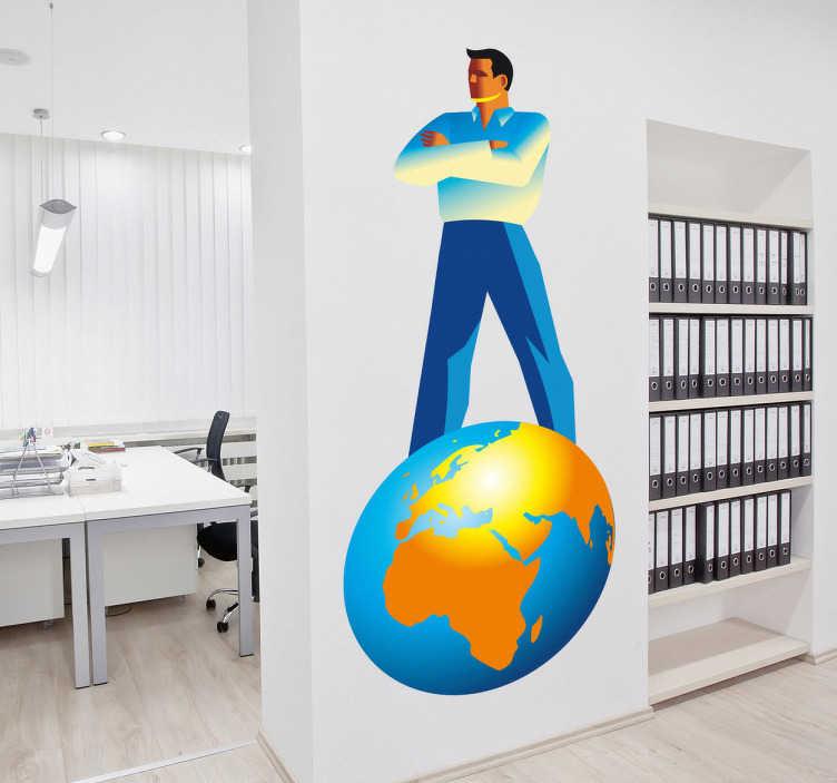 TenStickers. Naklejka na ścianę człowiek na szczycie Ziemi. Naklejka dekoracyjna przedstawiająca mężczyznę górującego na planecie Ziemia. Kolorystyka naklejki zachowana w barwach niebieskiego i żółtego.