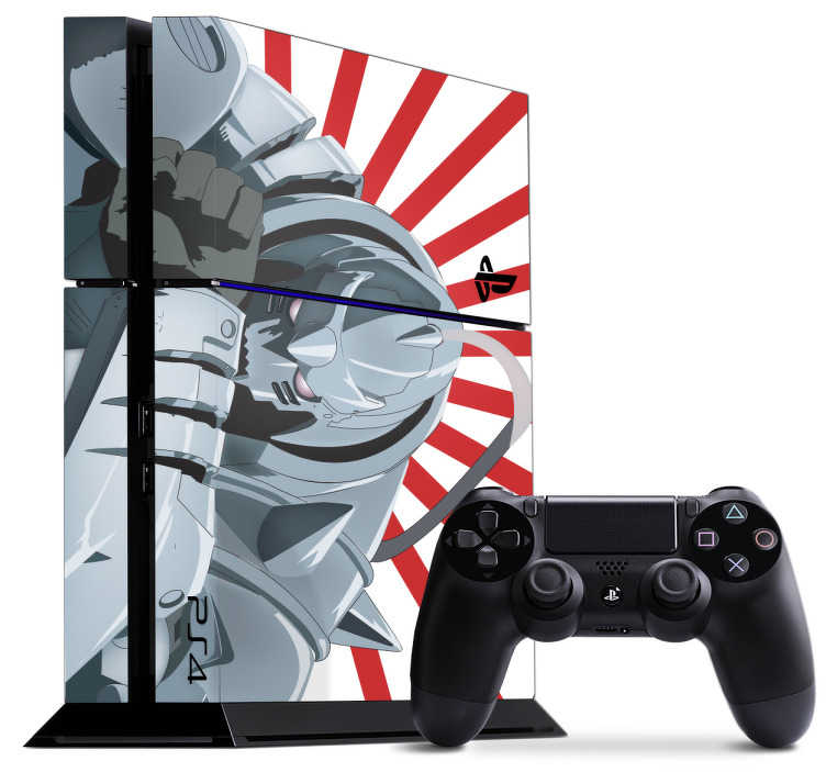 TenStickers. Fullmetal Alchemist PS4 Sticker. PS4 skin of Alphonse Elric from Fullmetal Alchemist. Show off your love of the famous anime with this awesome PS4 decal design for your console and controllers.
