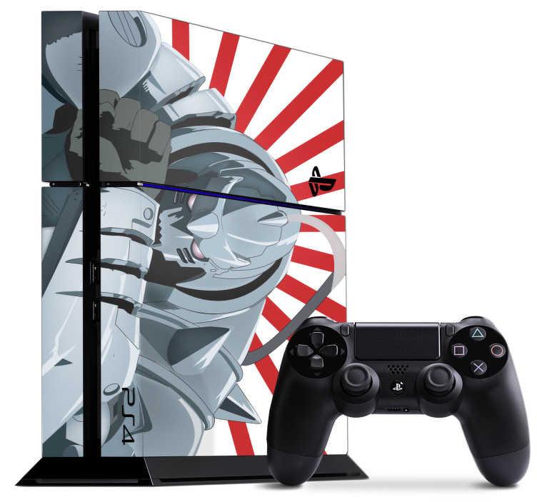 TenVinilo. Vinilo PS4 robot anime. Vinilo para PS4 y controladores formado por el diseño de un robot anime sobre un fondo de rallas diagonales blancas y rojas. Vinilos Personalizados a medida.