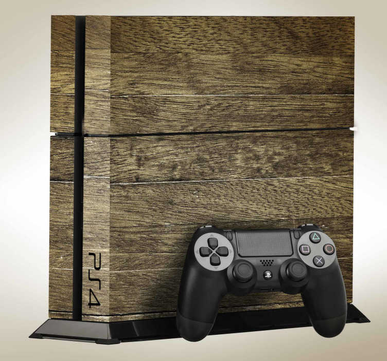 TenStickers. Naklejka na PS4 tekstura drewna. Nowoczesna skórka na PS4, imitująca drewno, która sprawi, że Twoje urządzenie będzie wyróżniać się na tle innych! Codziennie nowe projekty!