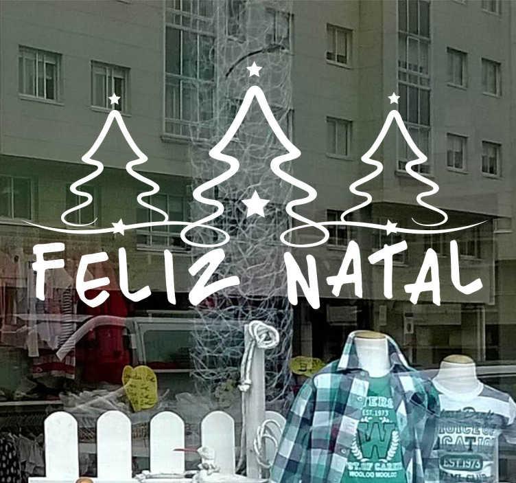 TenStickers. Decoração de montras de Natal. Torna as tuas montras de Natal inesquecíveis com este adesivo árvore de natal para celebrares as próximas festividades natalícias.