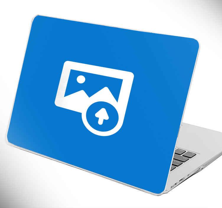 TenStickers. Personalisierbarer Laptopaufkleber. Personalisieren Sie Ihren Laptopaufkleber ganz nach Ihrem Geschmack. Laden Sie Ihr Lieblingsbild hoch und lassen ihn zum Aufkleber werden!