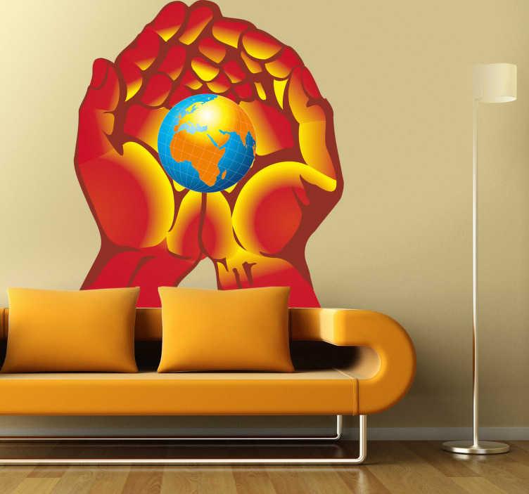 TenStickers. Adhésif mural terre main. Stickers illustrant la planète Terre dans le creux d'une main.Idée déco pour la chambre à coucher ou le salonde façon girly.