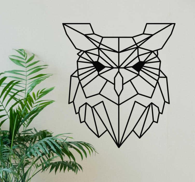TenVinilo. Vinilo pájaro búho geométrico. Original pegatina de estilo minimalista formada por la silueta de un búho diseño a partir de líneas rectas. Vinilos Personalizados a medida.