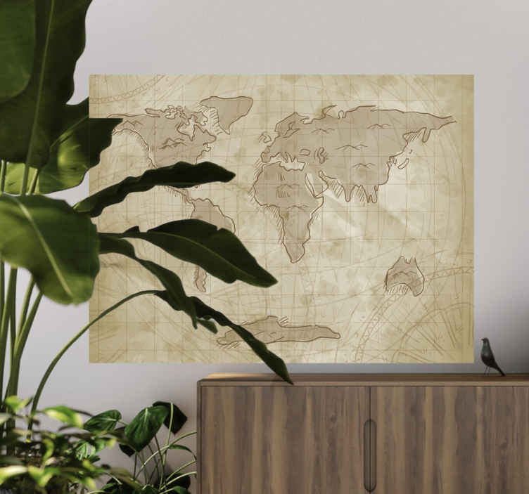 TenStickers. Naklejka z rysunkiem stara mapa świata. Naklejka na ścianę przedstawia starodawną mapę świata, utrzymana jest w odcieniach brązu, co sprawia wrażenie zużytej, starej mapy jak z filmów!