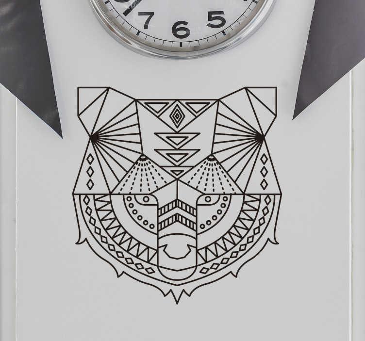 TenStickers. Wandtattoo geometrischer Bär. Cooles Wandtattoo mit einem geometrisch, detailierten Design eines Bären. Schöne Dekorationsidee für das Schlafzimmer.