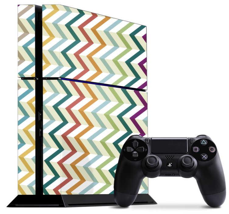 TenVinilo. Vinilo PS4 colores zigzag. Vinilo para PS4 y controladores con un diseño de tiras de colores que forman triángulos. Descuentos para nuevos usuarios