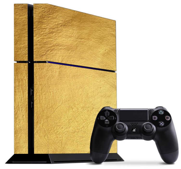 TenStickers. PS4 sticker goud. Vorm je PS4 om tot een goudstaaf. Breng een fraaie vinylsticker aan op uw PS4 met de textuur van een goudstaaf.