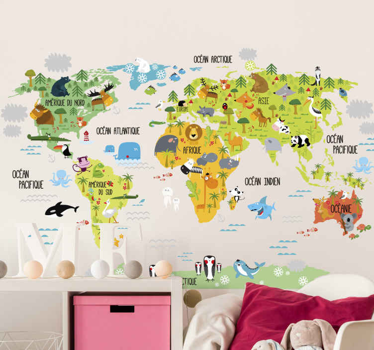 sticker carte du monde animaux fran ais tenstickers. Black Bedroom Furniture Sets. Home Design Ideas