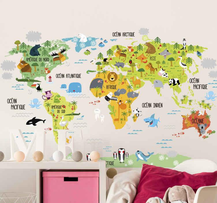 Sticker carte du monde animaux français
