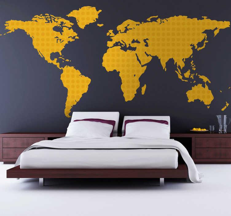 autocollant mural carte monde jaune pois tenstickers. Black Bedroom Furniture Sets. Home Design Ideas