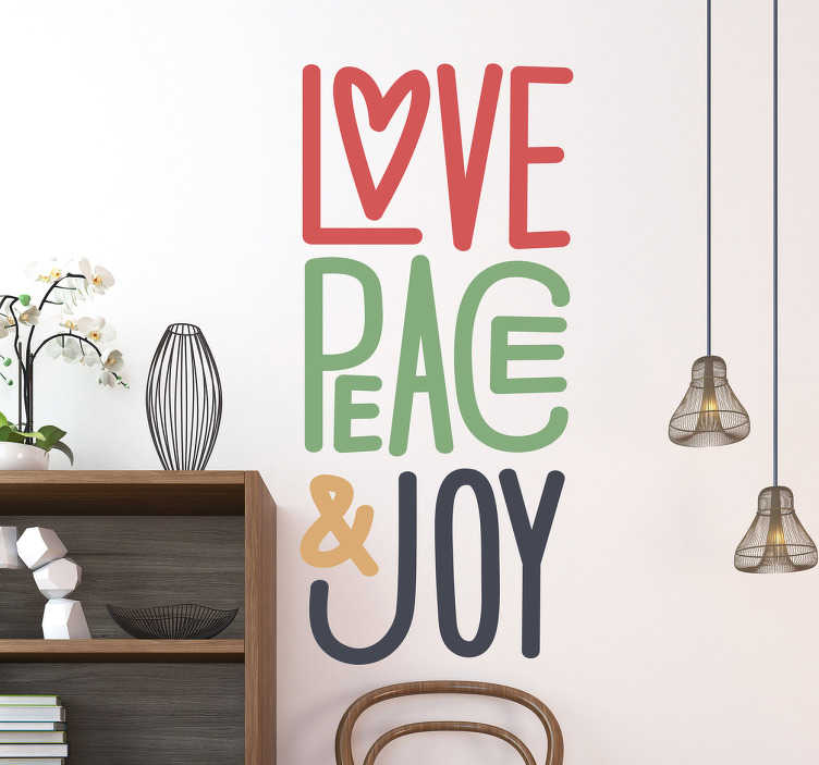 """TenStickers. Sticker message d'amour. Sticker texte coloré qui viendra apporter un peu de joie et d'amour dans votre intérieur! Notre adhésif """"Love Peace & Joy"""" vous mettra de bonne humeur du début jusqu'à la fin de votre journée!"""