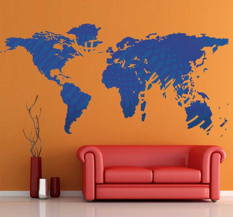 TenStickers. Sticker wereld kaart. Wereldkaart muursticker met golven in het ontwerp weergegeven. Verkrijgbaar in verschillende kleuren en maten. Eenvoudig aan te brengen.