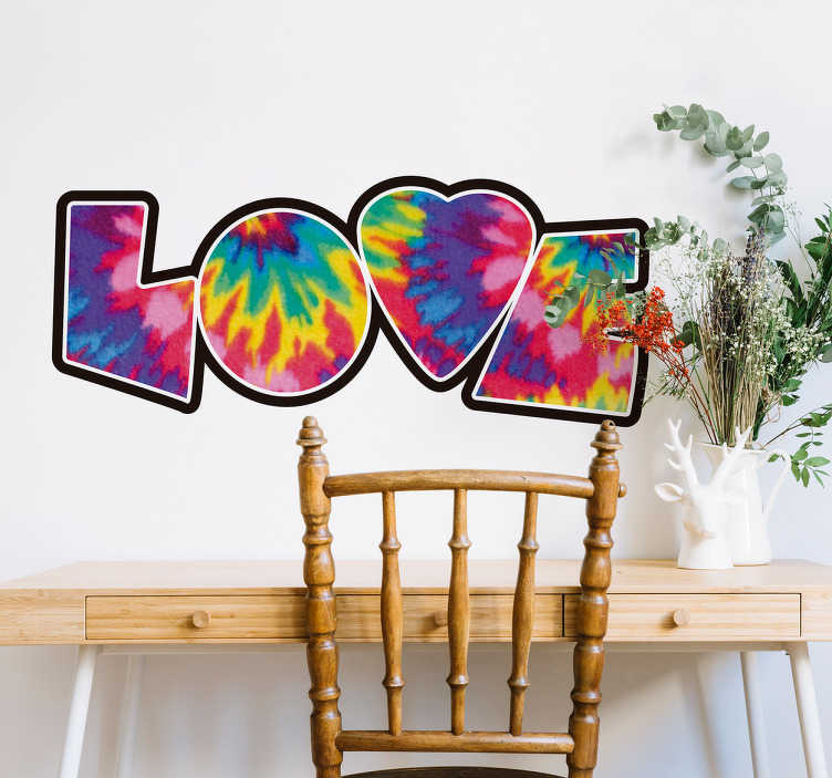 TenStickers. Love tie dye decal. Decorative love text wall sticker designed with the text '' love''. It is an original urban colour design and it size it customisable.