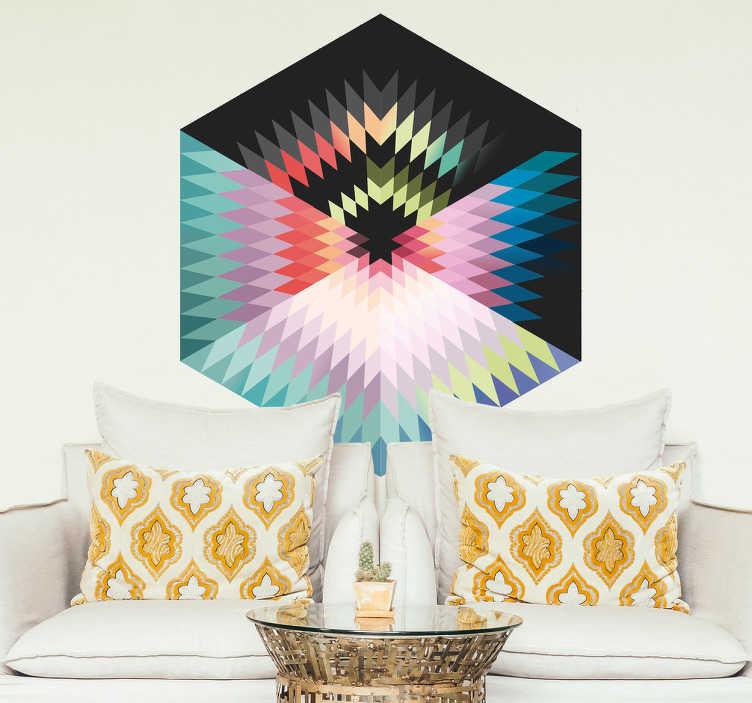 TenStickers. Autocolante decorativo hexagono cores. Vinil decorativo autocolante ornamental com desenho de um hexagono com traços geométricos no interior cheios de cor. Fácil de aplicar.