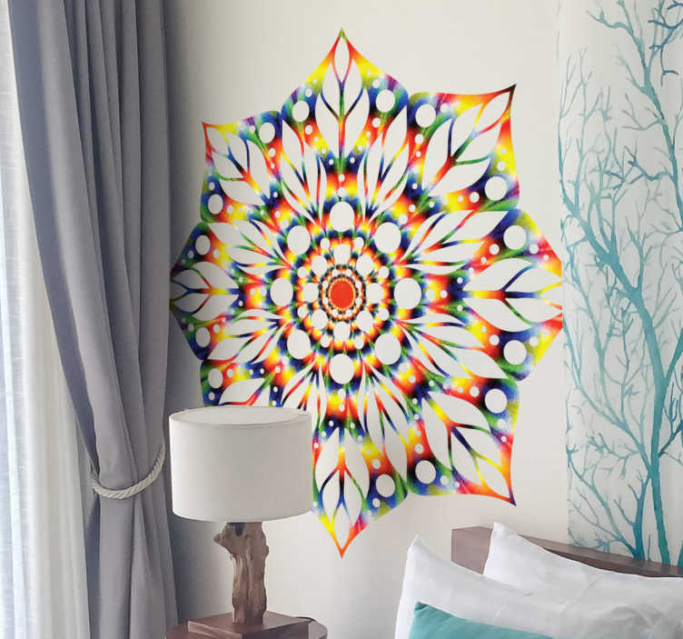 TenStickers. Tie-Dye Mandala Wall Sticker. Vibrant tie-dye mandala wall sticker to give a colourful atmosphere to your home decor. Embrace the beautiful colours in your bedroom or living room with this bright and symmetrical mandala wall sticker.