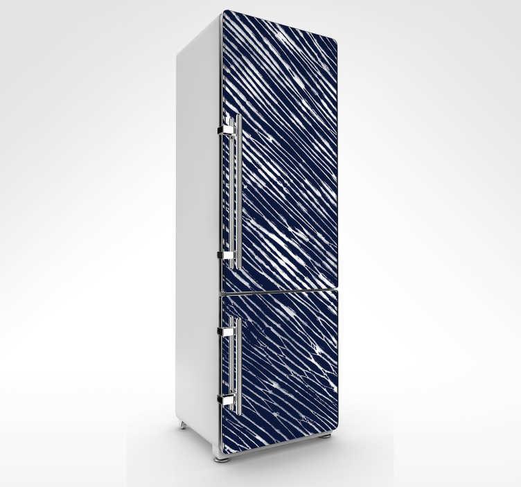 TenStickers. Vinil autocolante frigorífico shibori. Autocolante decorativo para frigorífico com o estilo shibori, uma arte chinesa de secar as pinturas, uma maneira única de decorar o seu frigorífico.