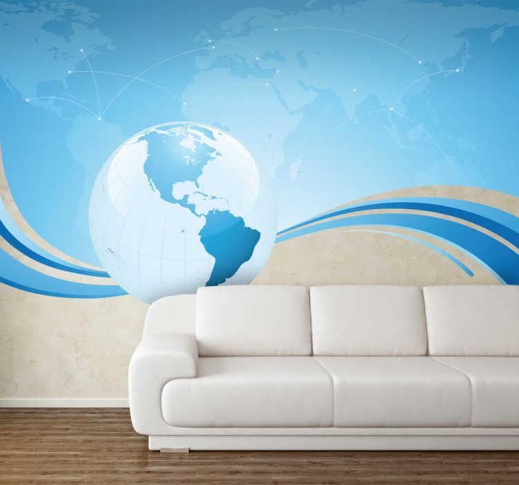 TenStickers. Naklejka niebieski świat. Naklejka na ścianę przedstawiająca mapę świata z zaznaczonymi różnymi punktami podróży wraz z kulą ziemską ukazującą część kontynent Ameryki Północnej i Południowej.