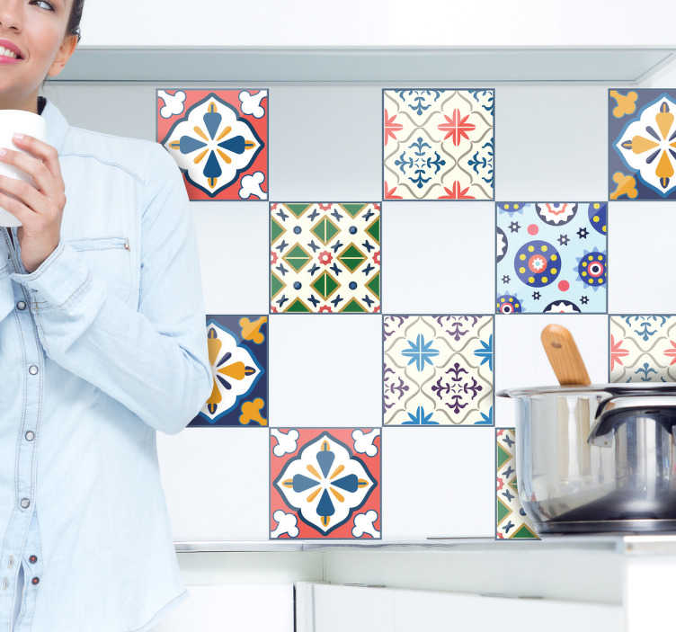 TenStickers. Typical Portuguese tile transfer. Decorative geometry form  tile sticker to beautify any wall space in  the home. Buy it in any desirable size. Easy to apply