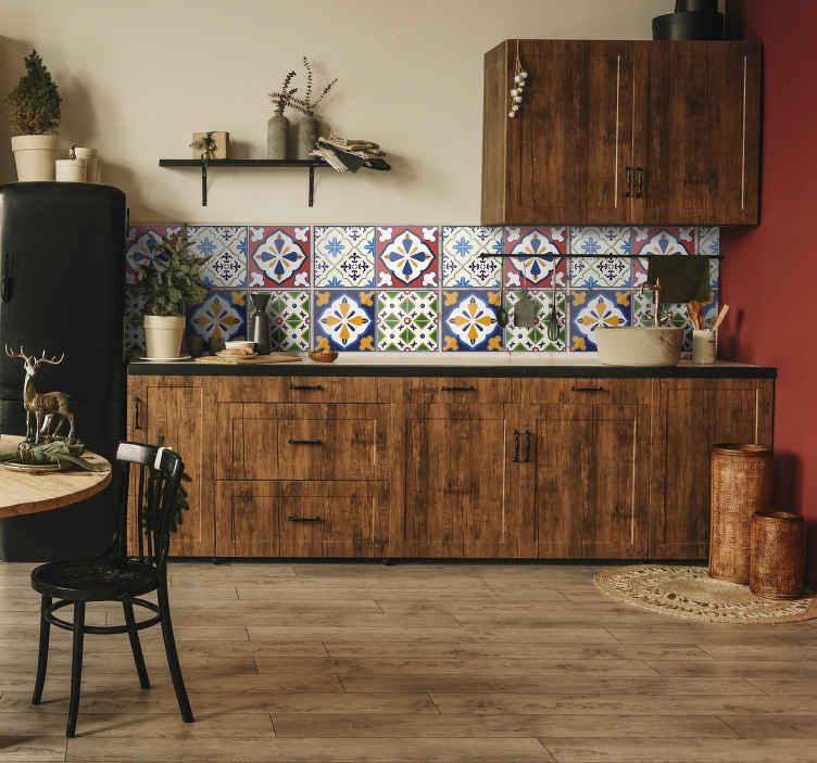 TenStickers. Autolante para azulejos estilo português. Vinil de cozinha de uma recreação de azulejos de estilo retro ideal para revestimento de azulejos.