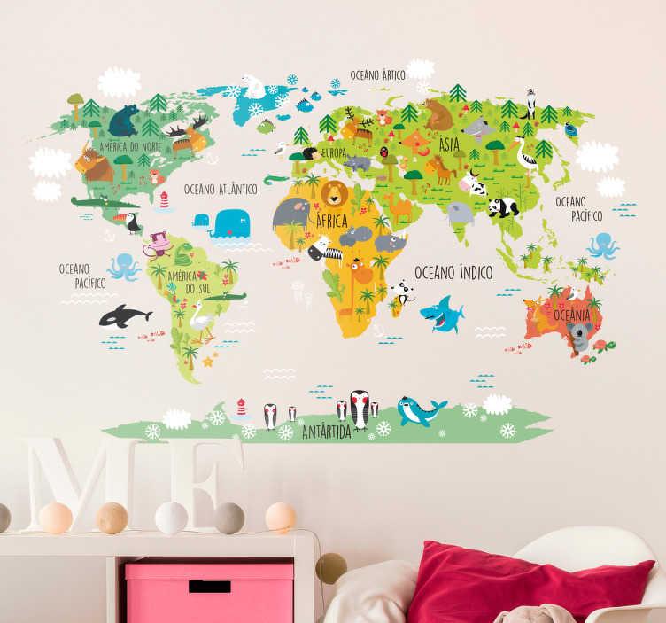 TenStickers. Vinil Mapa mundo infantil. Autocolante infantil desenhado para os pequenos exploradores. Ensine aos seus filhos os oceanos e continententes