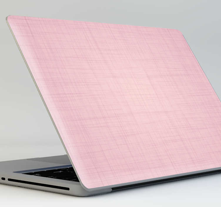 TenVinilo. Skin para portátil rosa palo. Pegatinas para portátil en tono rosado con una textura tipo tela de lino, ideal para personalizar a tu gusto tu ordenador personal.