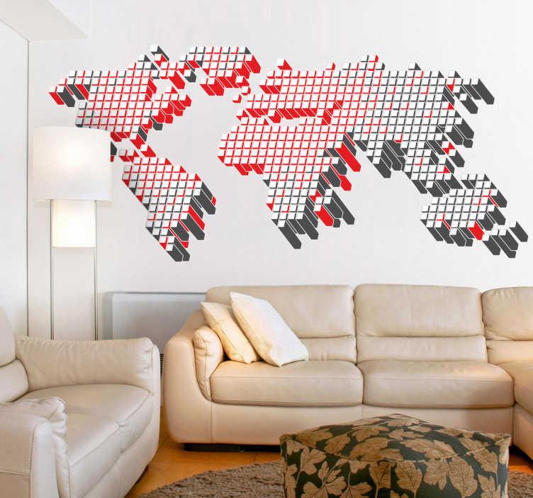 TenStickers. Autocollant mural carte monde cubes 3d. Stickers mural représentant une carte du monde crée à partir d'un assemblage de cubes.Idée déco pour la chambre à coucher ou le salon.