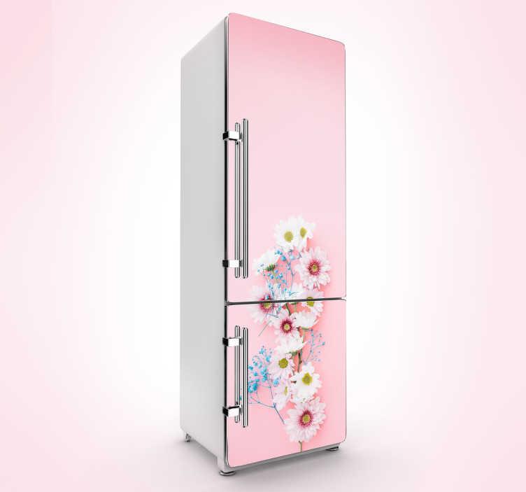 TenStickers. Naklejka na lodówkę różowe wiosenne kwiaty. Naklejka na lodówkę, przedstawiająca delikatny wzór kwiatów na różowym tle. Odmień swoją kuchnię z tą wiosenną naklejką! Wysyłka 24/48h!