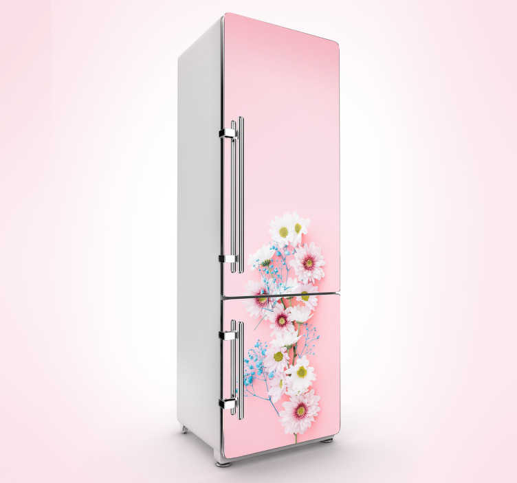 Vinilo nevera floral rosa palo