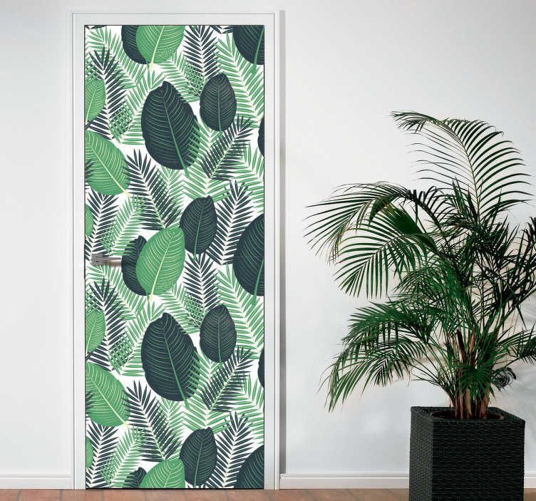 TenStickers. Sticker porte plantes vertes. Sticker plante représentant différentes palmes et feuilles, pour un motif coloré et très dans l'air du temps. Grâce à cet autocollant original, vous pourrez apporter une touche exotique à votre intérieur. Une façon facile et rapide de décorer vos murs ou même vos portes.