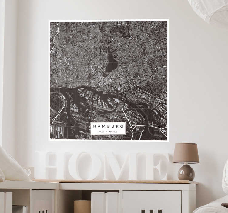 TenStickers. Wandtattoo Karte Hamburg. Tolles Wandtattoo im Kartographie Stil mit einer detaillierten Stadtkarte von Hamburg!