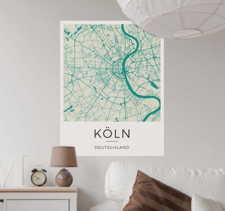 TenStickers. Wandtattoo Karte Köln. Cooles Wandtattoo mit einer detaillierten Stadtkarte von Köln. Hol die deine Lieblingsstadt an die Wand!