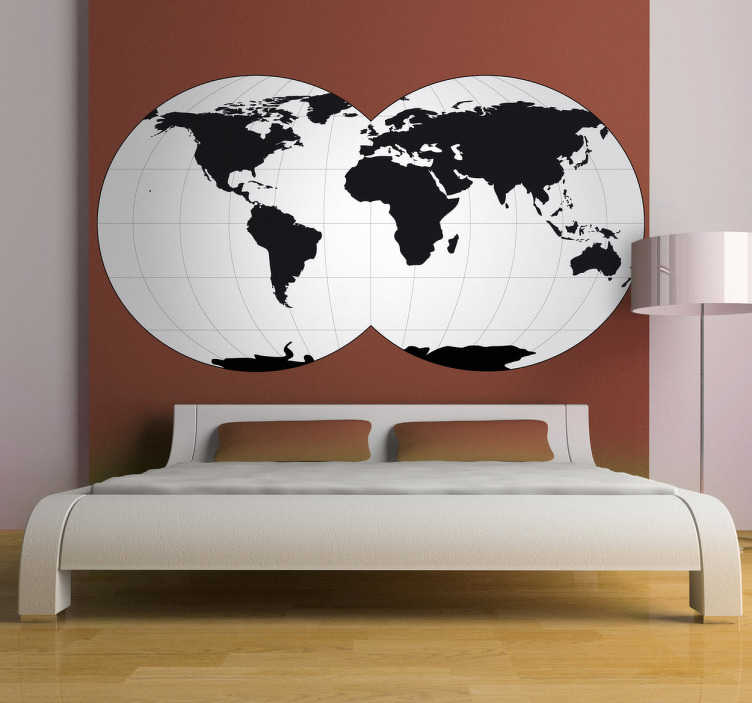 TenStickers. Sticker wereldbollen wereldkaart. Een leuke muursticker met de wereldkaart afgebeeld op 2 wereldbollen. Originele wanddecoratie voor de versiering van de muren in uw woning.