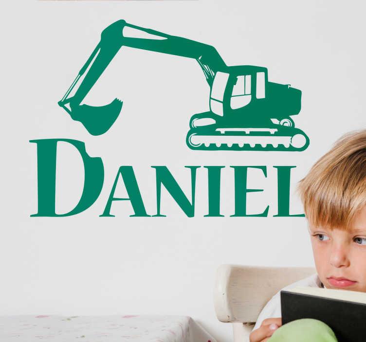 TenStickers. Vinil nome personalizado escavadora. Decora as paredes do quarto dos teus filhos com um vinil decorativo original em que aparece o desenho de uma escavadora.