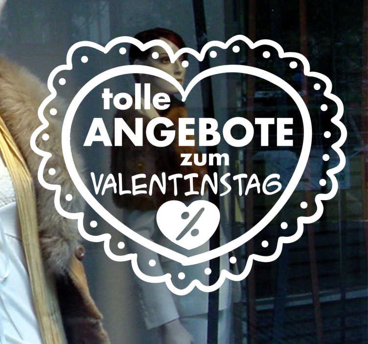 TenStickers. Schaufensteraufkleber Valentinstagangebot. Verschönern Sie Ihr Schaufenster und machen Sie Ihre Kunden auf tolle Angebote zum Valentinstag aufmerksam!