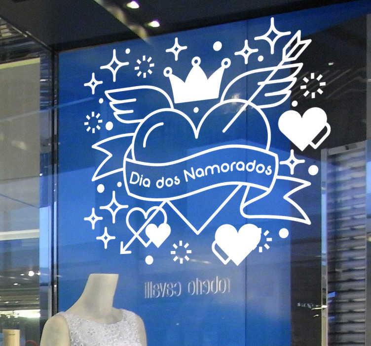 """TenStickers. Vinil """"Dia dos Namorados"""". Autocolante decorativo de São Valentim com corações e a frase """"Dia dos Namorados"""" perfeito para decorar a montra da sua loja."""