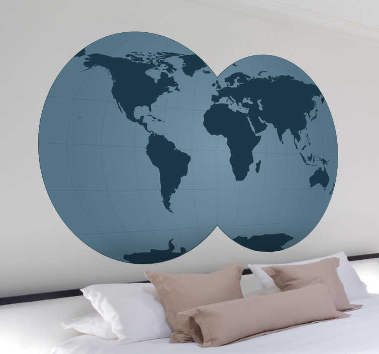 TenStickers. Blue World Map with Double Globe Sticker. Original sticker illustrating a fascinating double globe. Are you a person that loves travelling? This wall decal is perfect to decorate your home.