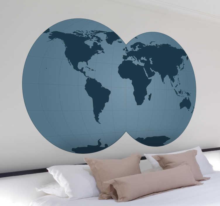 TenStickers. Overlappende Wereldbol Muursticker. Deze muursticker omtrent de wereld vormgegeven in twee overlappende wereldbollen. Afmetingen aanpasbaar. +10.000 tevreden klanten.