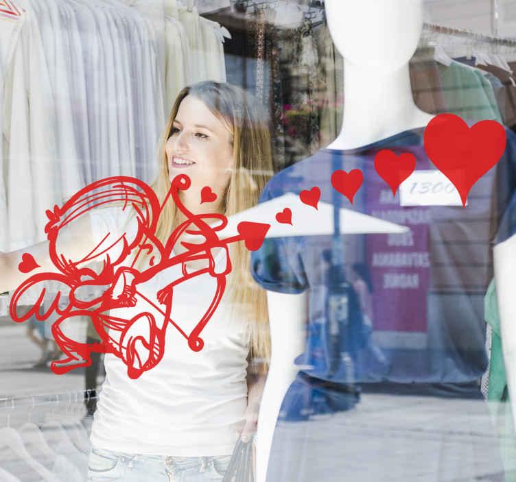 TenVinilo. Vinilo empresa día de los enamorados. Pegatina para el escaparate de tu negocio formada por el dibujo de Cupido lanzando varios corazones. Descuentos para nuevos usuarios.