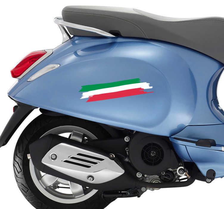 TenVinilo. Pegatina para moto tricolor. Pegatina adhesiva para coche o moto formada por la bandera de Italia simulando unas franjas de pintura. Precios imbatibles.