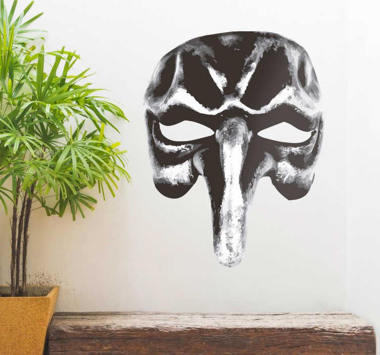 TenStickers. Maschera adesiva Pulcinella. Se ami il Carnevale a Venezia, scopri la maschera adesiva Pulcinella in bianco e nero, per donare eleganza ed originalita' ai tuoi spazi della casa.