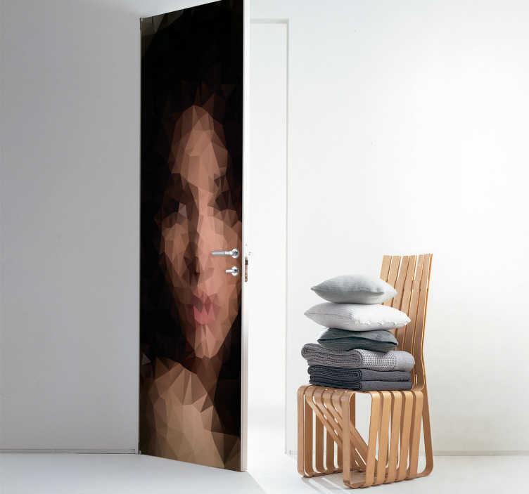 TenVinilo. Vinilo para puerta mujer poligonal. Pegatina adhesiva para puerta formada por la ilustración de una mujer creada a partir de formas poligonales. Atención al Cliente Personalizada.