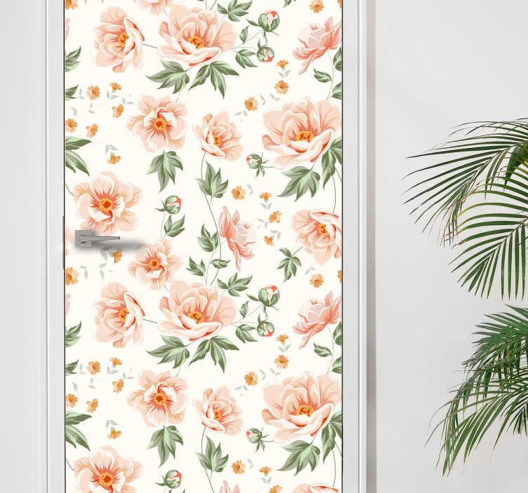 TenVinilo. Fotomural para puerta floral. Pegatina decorativa para puerta formada por un estampado de flores naranjas sobre un fondo de color blanco. Descuentos para nuevos usuarios.