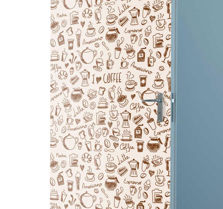 TenVinilo. Vinilo para puerta dibujos café. Pegatina para puerta formada por varios elementos relacionados con el café, colocados sobre un fondo de color crema. Descuentos para nuevos usuarios.