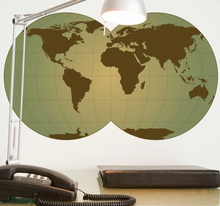 TenStickers. Spheric World Map Sticker. Sticker of the world with double globe. Decorate your home and transform it with this wonderful decal.