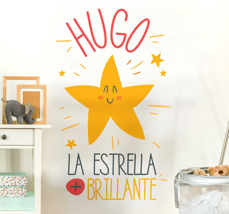 """TenVinilo. Pegatinas estrellas pared bebé. Vinilo adhesivo para habitación infantil formado por el texto """"La estrella + brillante"""", el cual se puede personalizar con el nombre que indiques."""