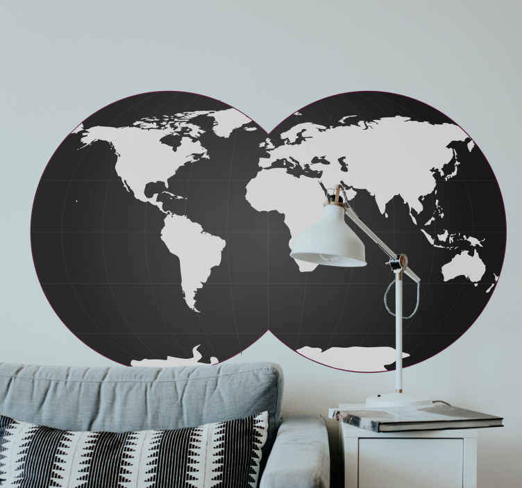 TenStickers. Double Globe Wall Sticker. Room Stickers - Illustration of the globe.Decals ideal for decorating your home.