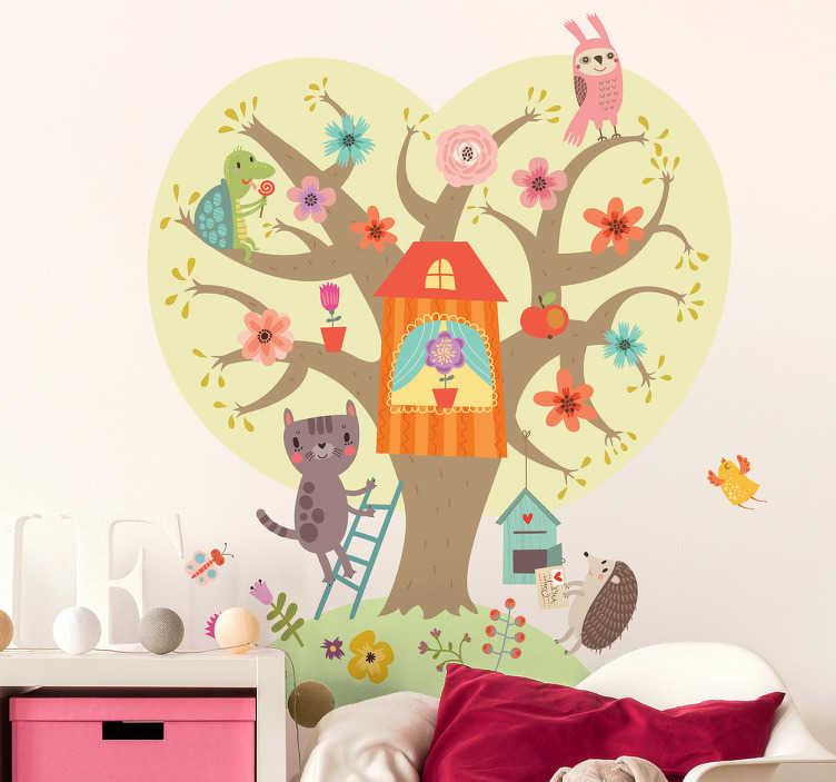 TenVinilo. Vinilo arbol bebé. Vinilos decorativos infantiles con el dibujo de un colorido árbol y distintos animales interactuando como gatos, búhos, tortugas o erizos.
