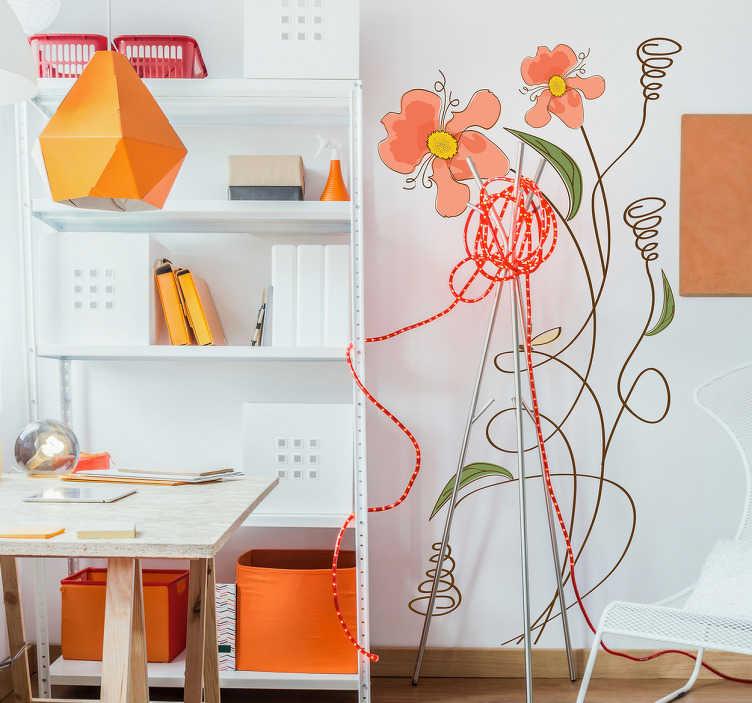 TenStickers. Muursticker kinderkamer planten. Een groene touch in de kamer met deze bloemen muursticker. Niet alleen geschikt als kinderkamer sticker maar ook als woonkamer sticker.
