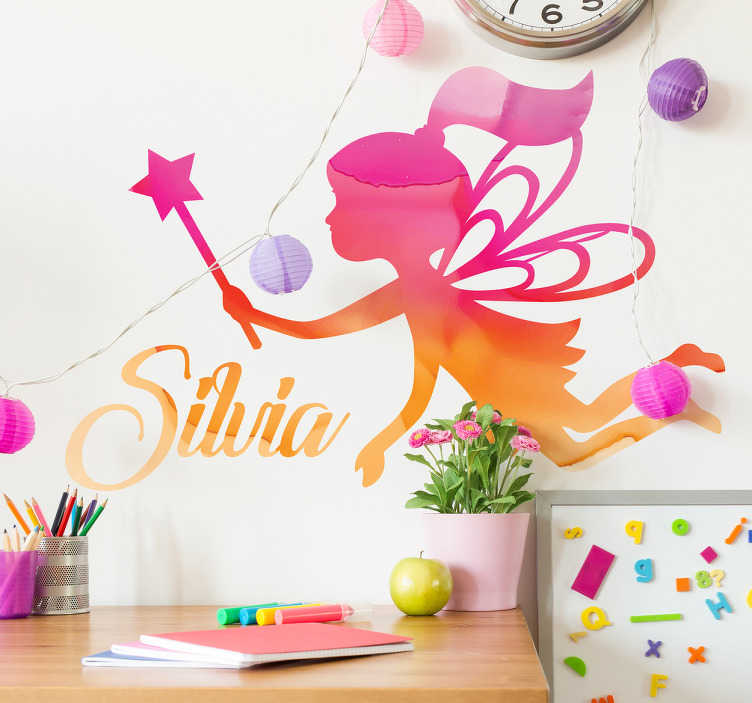 TenVinilo. Vinilo infantil hadas personalizado. Pegatinas nombres para niñas imaginativas, con una ilustración de la silueta de una mágica ninfa alada, en vivos colores.
